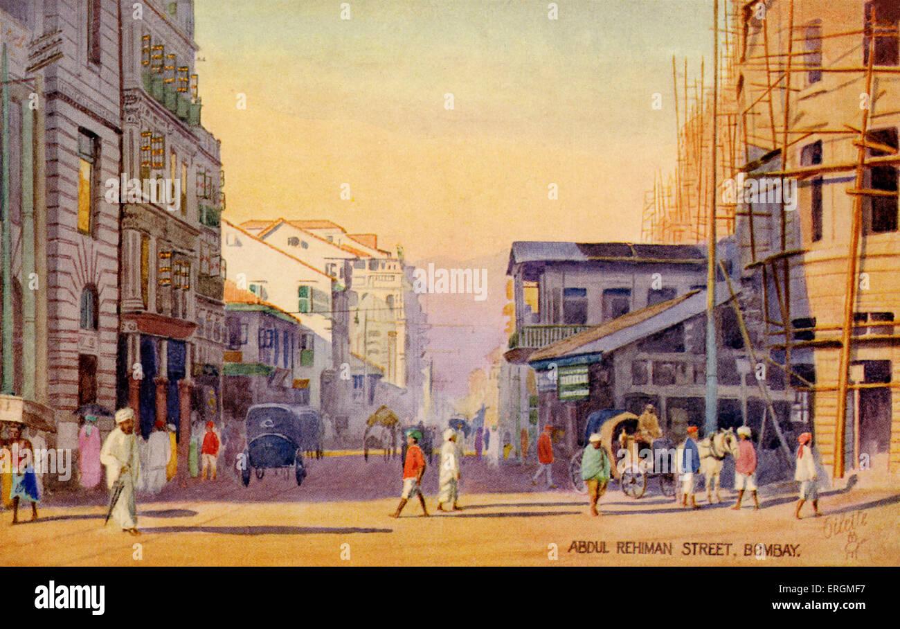 Abdul Rehman Street, Mumbai (Bombay). Illustration from early 20th century. - Stock Image