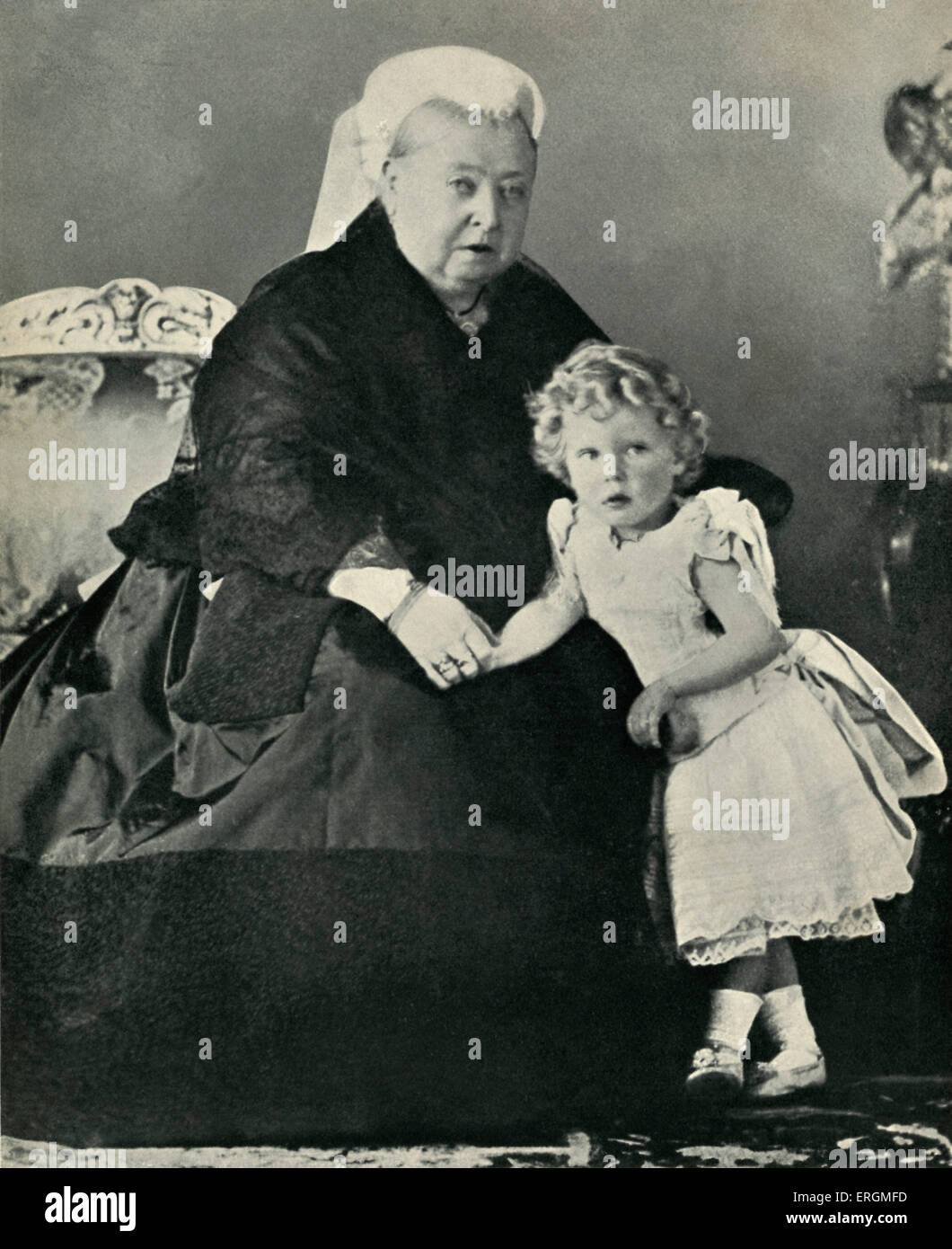 Queen Victoria (1819 -1901) with her great grandson, Prince Edward  (1894-1972) aged two and a half in 1896.