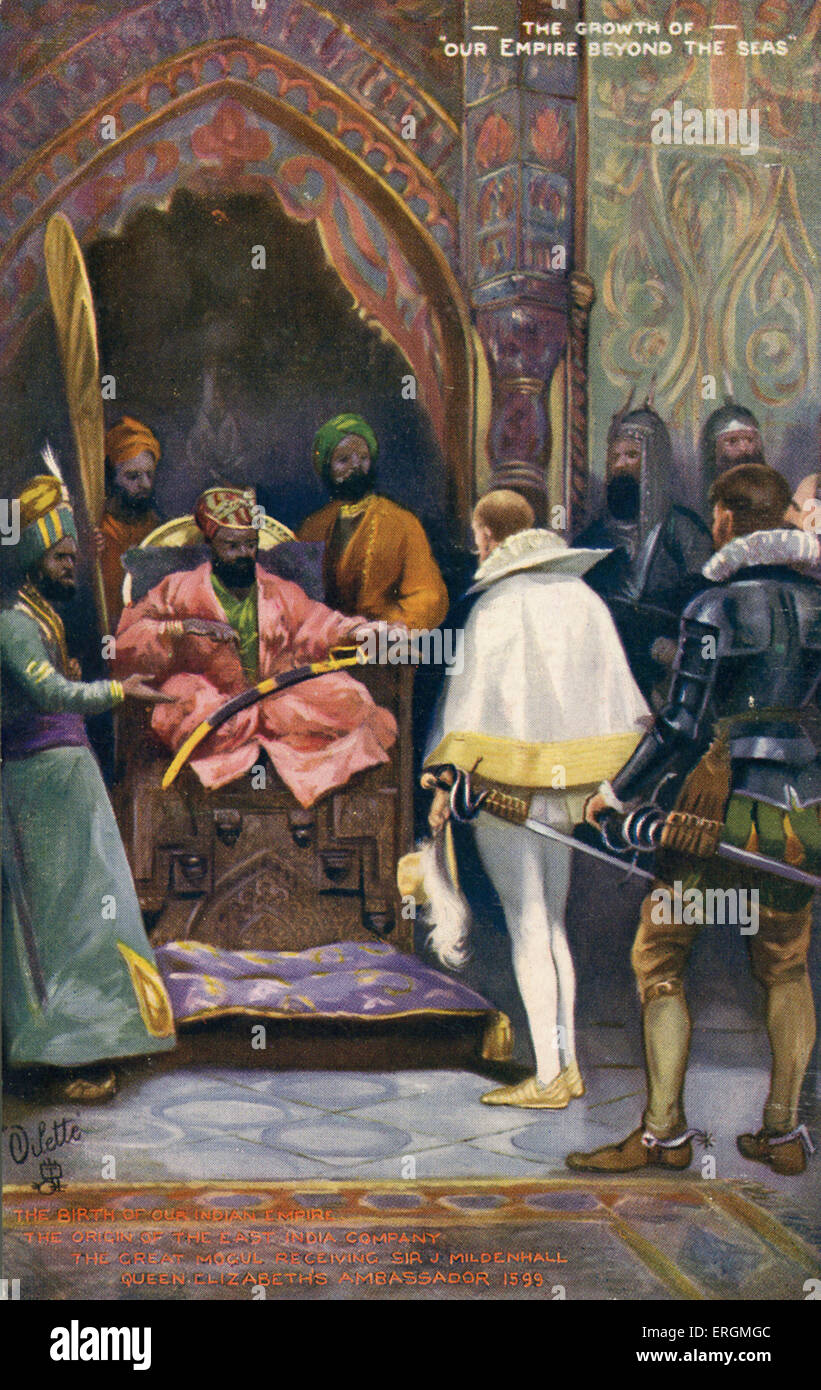 Sir J Mildenhall received by Akbar the Great. Early 20th century illustration imagining the first meeting of the Stock Photo
