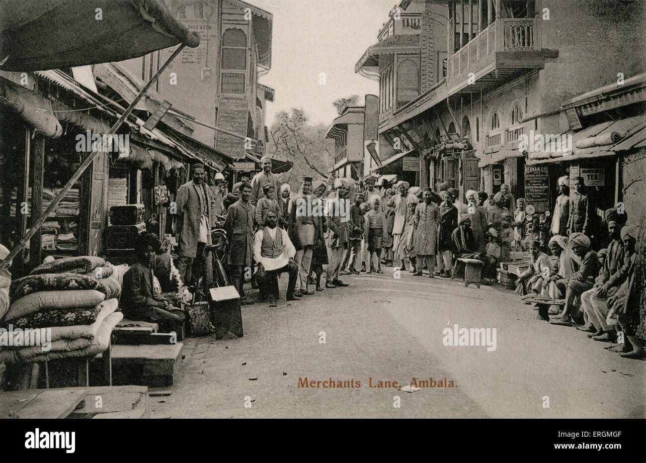 Merchants Lane, Ambala, India. Photograph taken early 20th century. - Stock Image