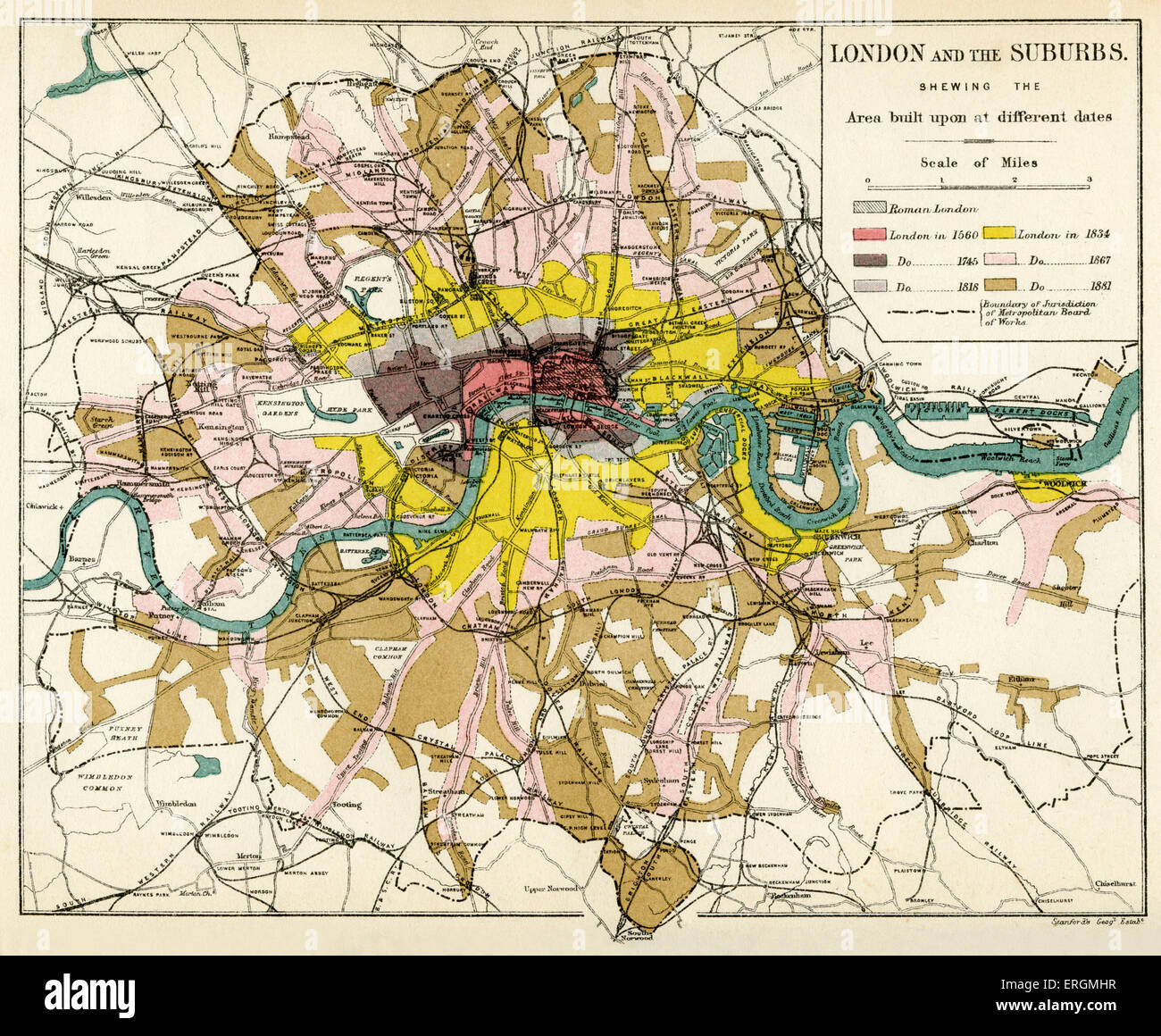 london and its suburbs 1894 showing expansion of london suburbs out of the