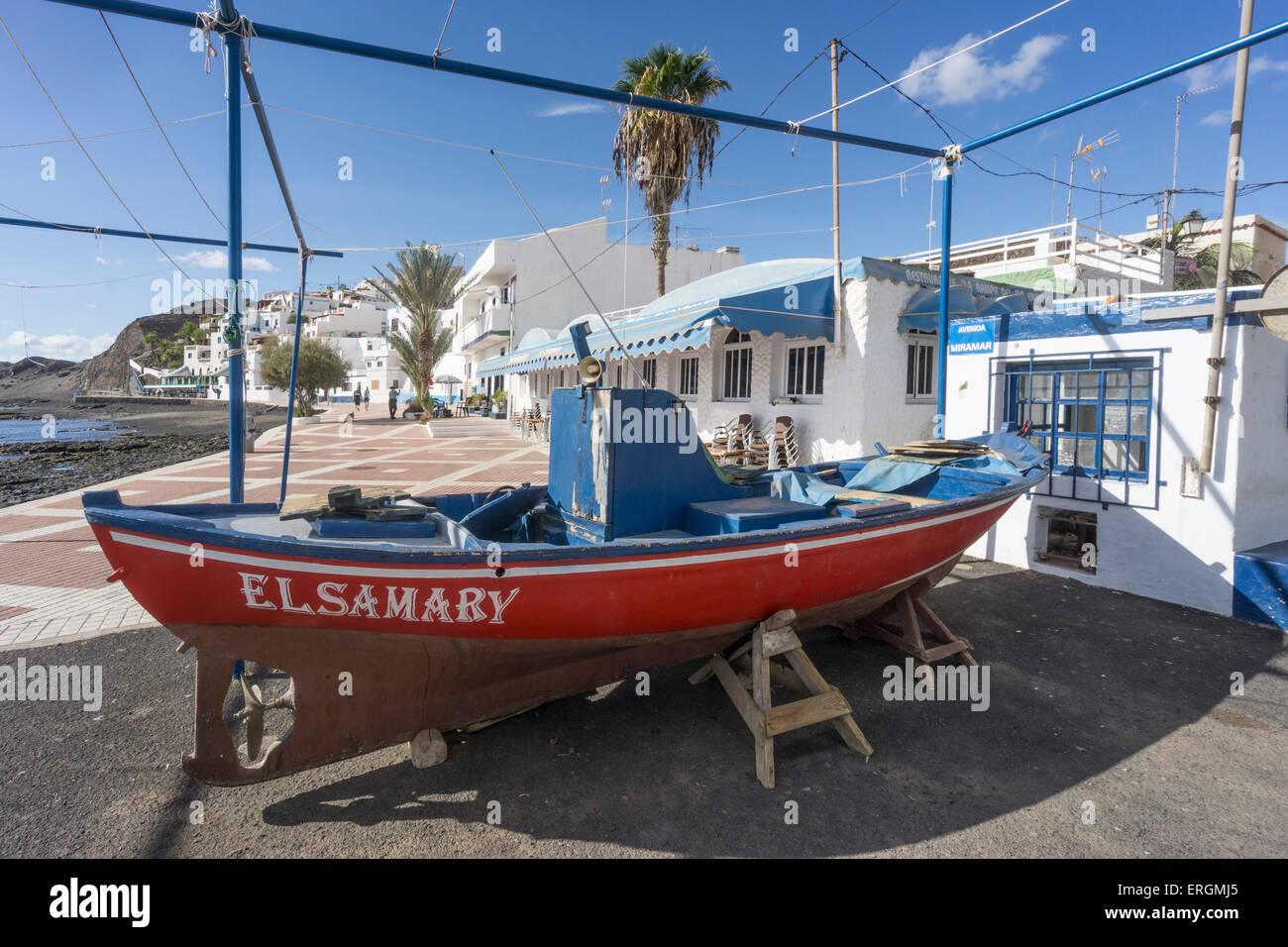 Las Playitas, Fisher Boat, Promenade, Fuerteventura, Canary Islands, Spain, Europe, - Stock Image