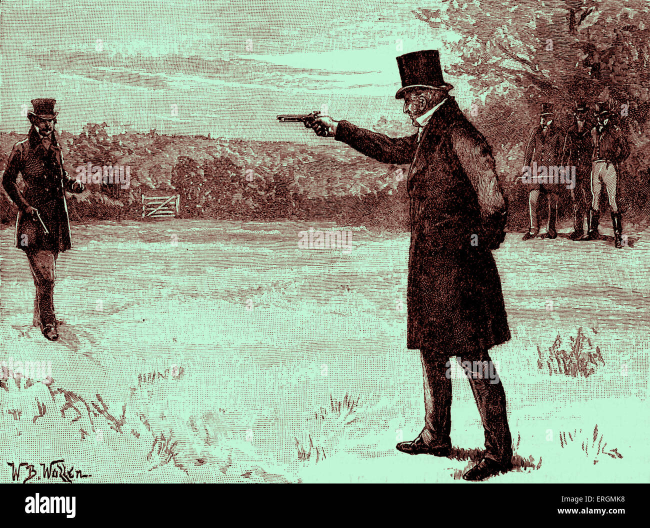 Duke of Wellington 's Duel with George Finch-Hatton, 10th Earl of Winchilsea. Battersea Fields on, 21 March - Stock Image