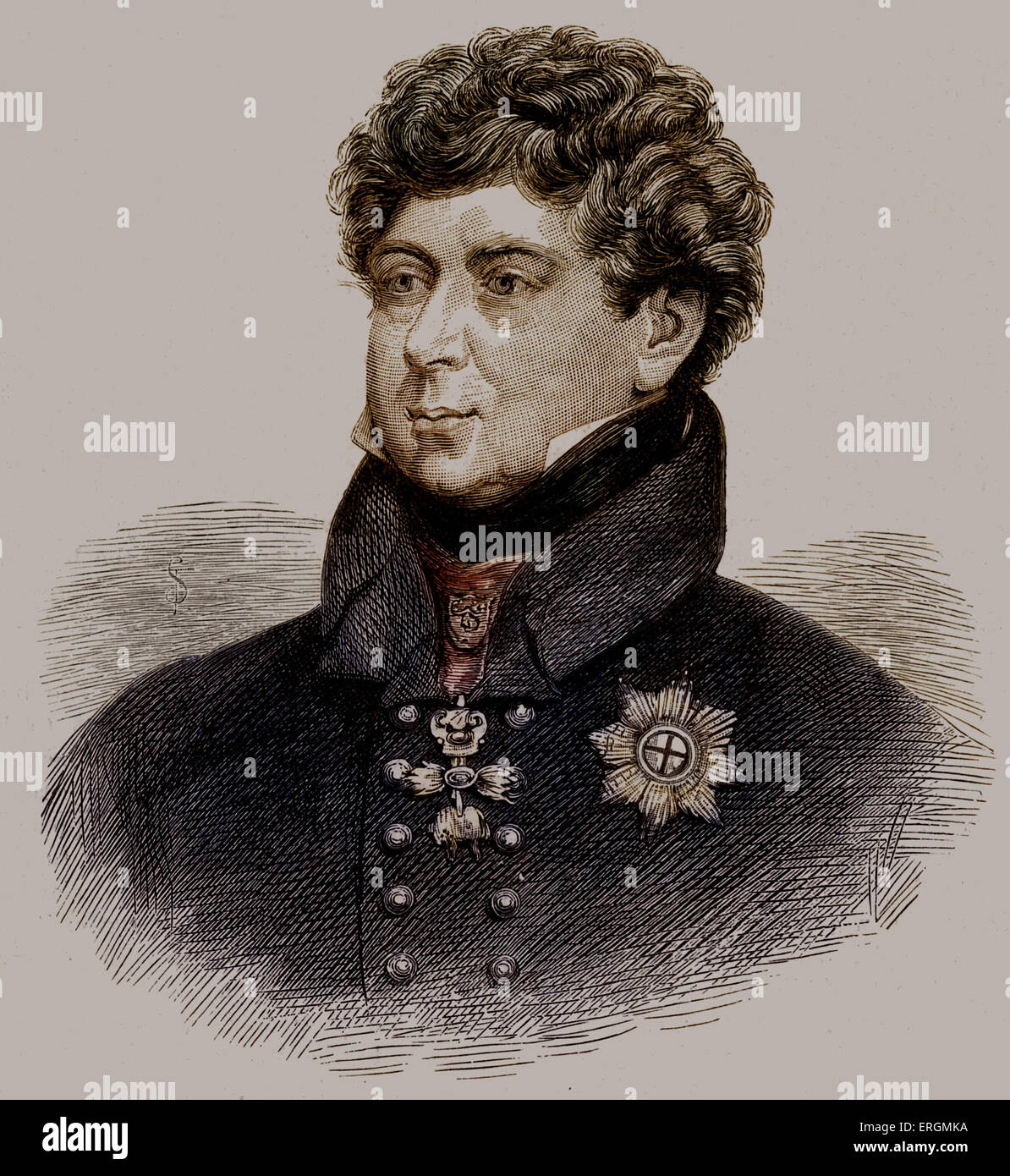 King George IV portrait  (Reigned 1820 - 1830). George acted as Regent for his father from 1811-1820.c - Stock Image