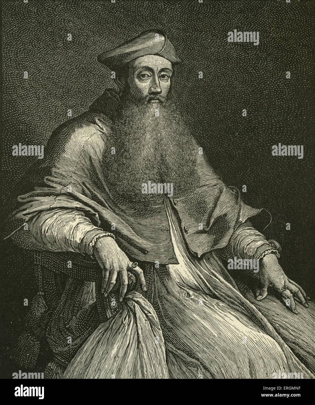 Cardinal Reginald Pole (1500-1558), son of the Catholic martyr Margaret Pole, was the last Catholic Archbishop of Stock Photo