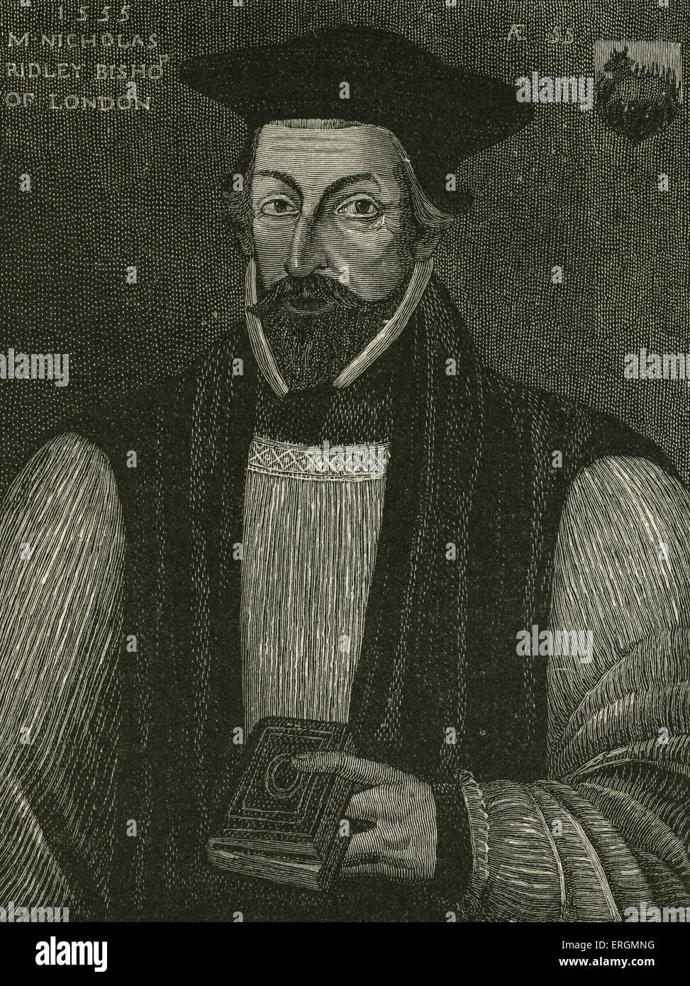 Nicolas Ridley (1500-1555) was an English Bishop burned during the Marian Persecutions for his preaching of protestantism - Stock Image