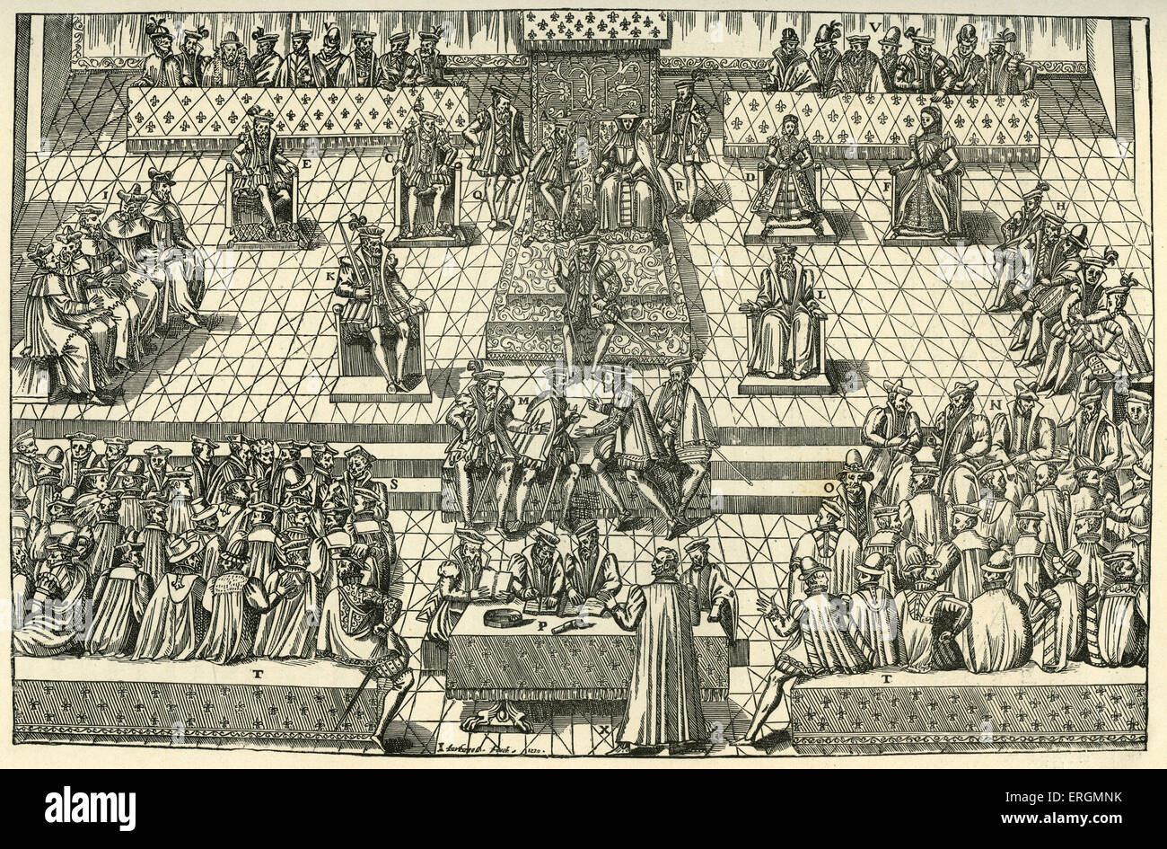 The Court of Orleans 1561. King Charles IX (1550-1574) sits on the throne, left center, beside his mother, Catherine - Stock Image