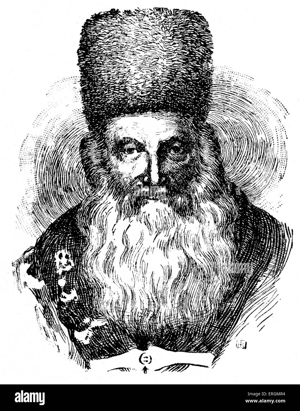 Mordecai (Marcus) Benet (1753-1829)  -Hungarian Rabbi. Benet was a scholar of the Talmud and proponent of its study - Stock Image