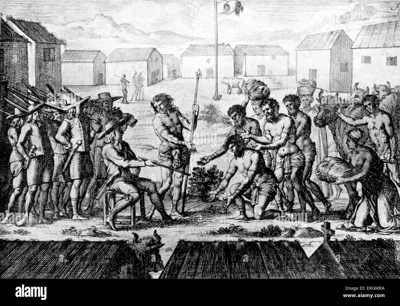 The hoisting of the French flag in Madagascar in mid 17th century.  Madagascarians seen welcoming armed French officials - Stock Image
