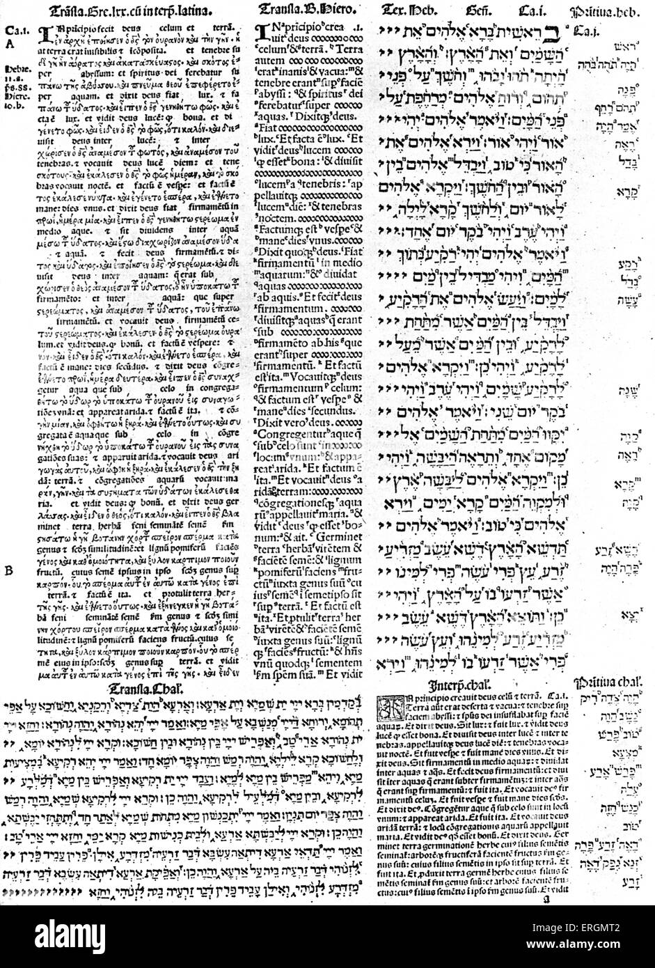 Page from the Complutensian Polyglot Bible, 1514. The Complutensian Polyglot Bible was the first printed edition - Stock Image