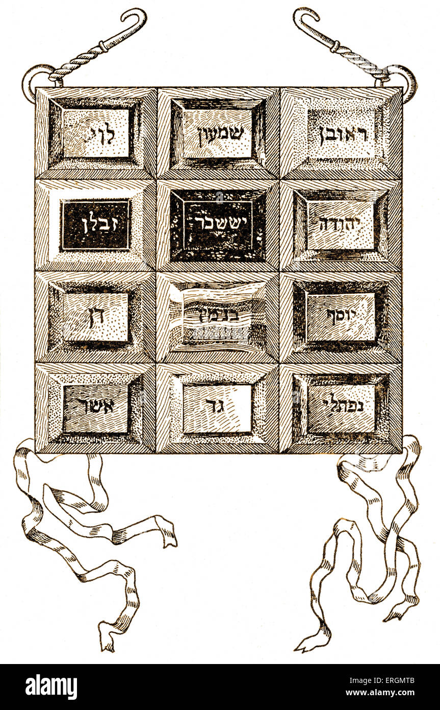 Breastplate of the High Priest with Hebrew inscription of the names of the twelve tribes. Directions for making - Stock Image