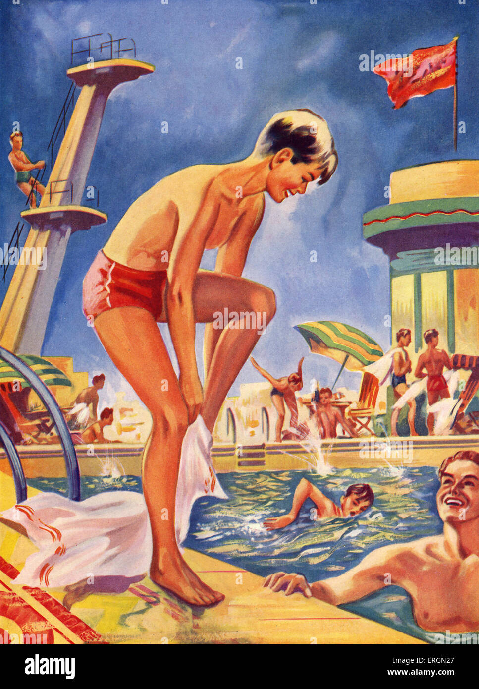 Lido swimming pool 1930s Illsutration from late 1930s, artist not known, from Wonder Book series - Stock Image