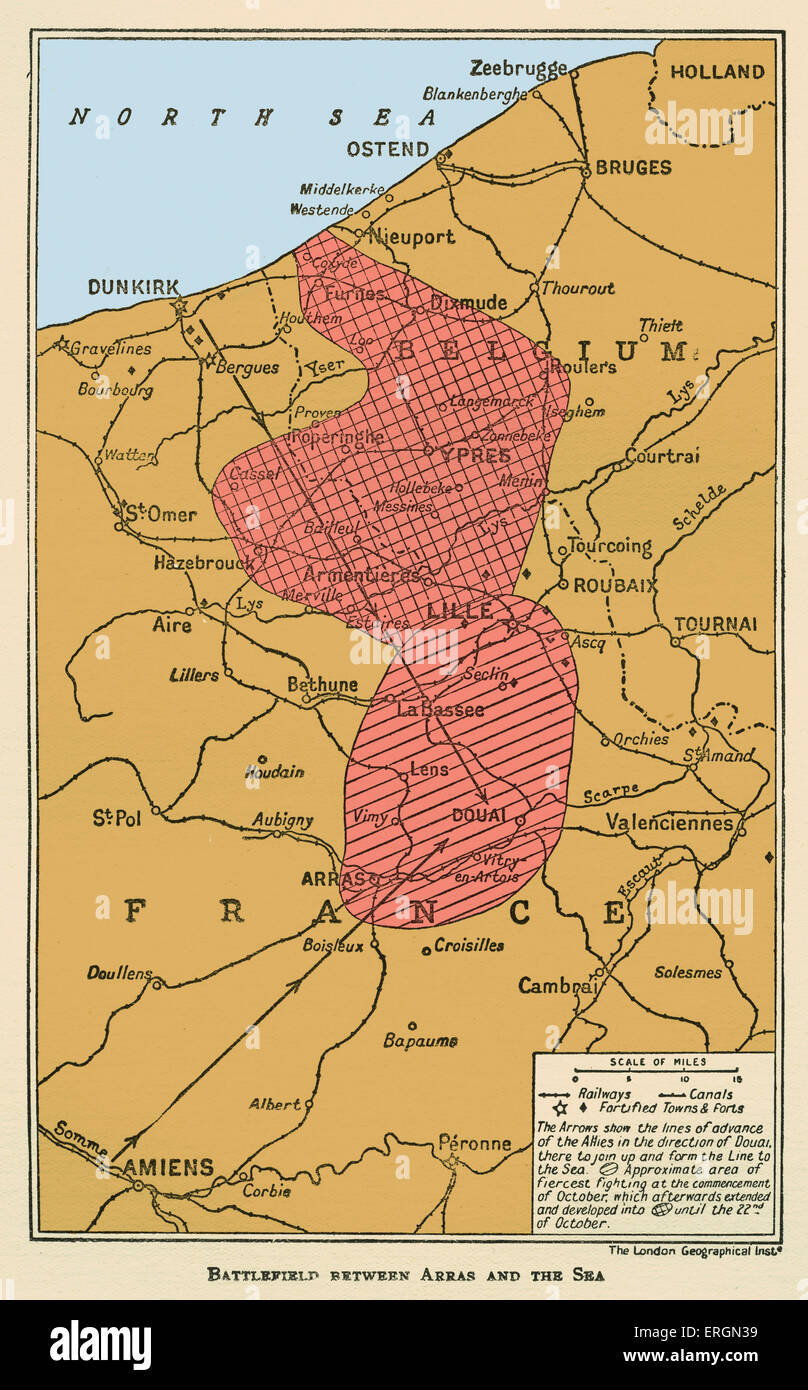 WWI - Map of  Battlefield between Arras and the Sea - Stock Image