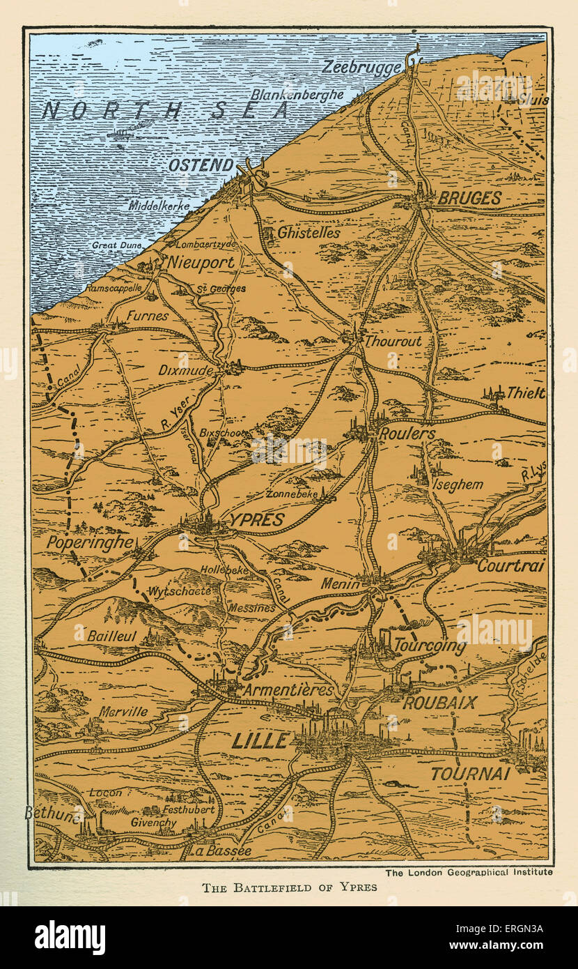 WWI - Map of  Battlefield of Ypres - Stock Image