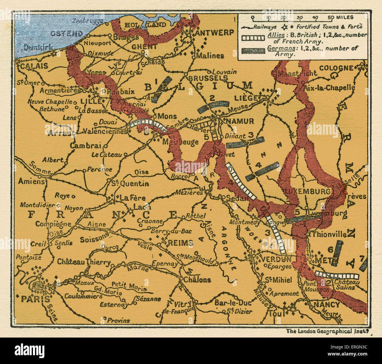 wwi map of the position of the armies august 22 1914 in belgium and france shwoing german army divisions and british and