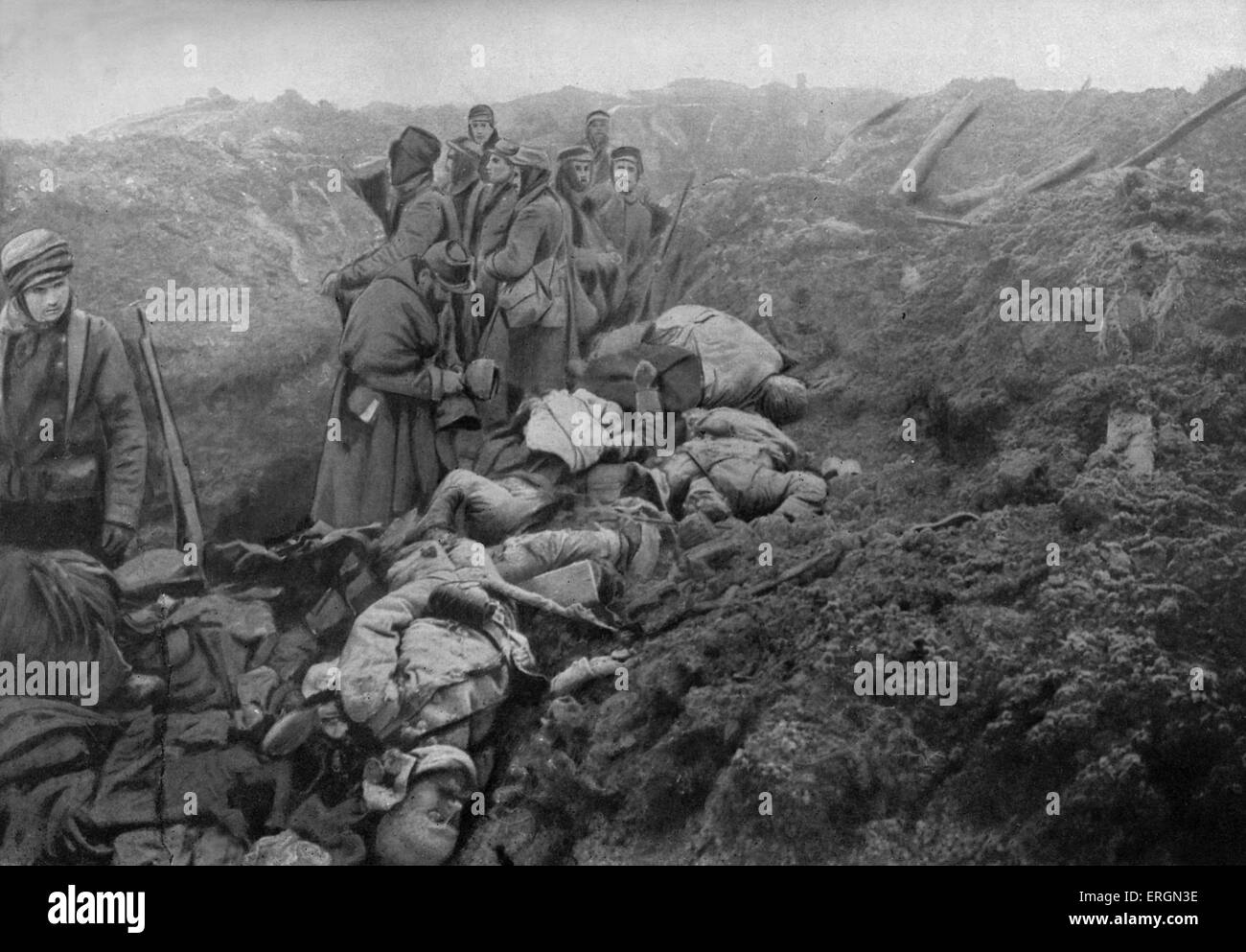 WWI- captured German trenches at Les Eparges. Photo shows dead German soldiers about to be collected and buried. - Stock Image