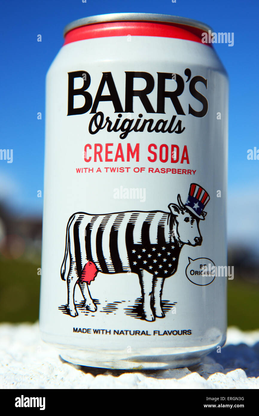 Can of Barr's cream soda fizzy drink - Stock Image