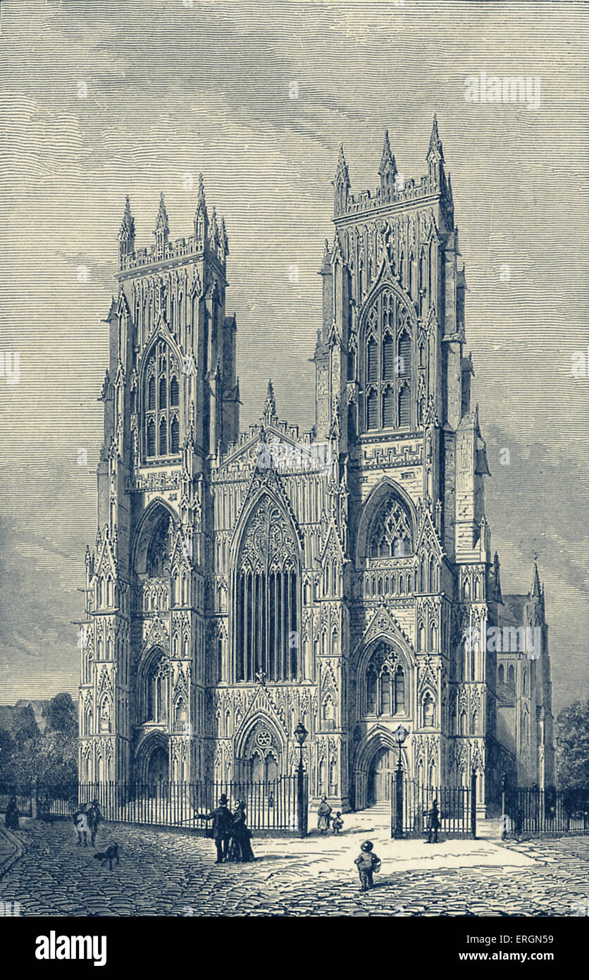 York Minster is a cathedral in York, finished in 1408. This illustration after a late 18th century drawing. - Stock Image