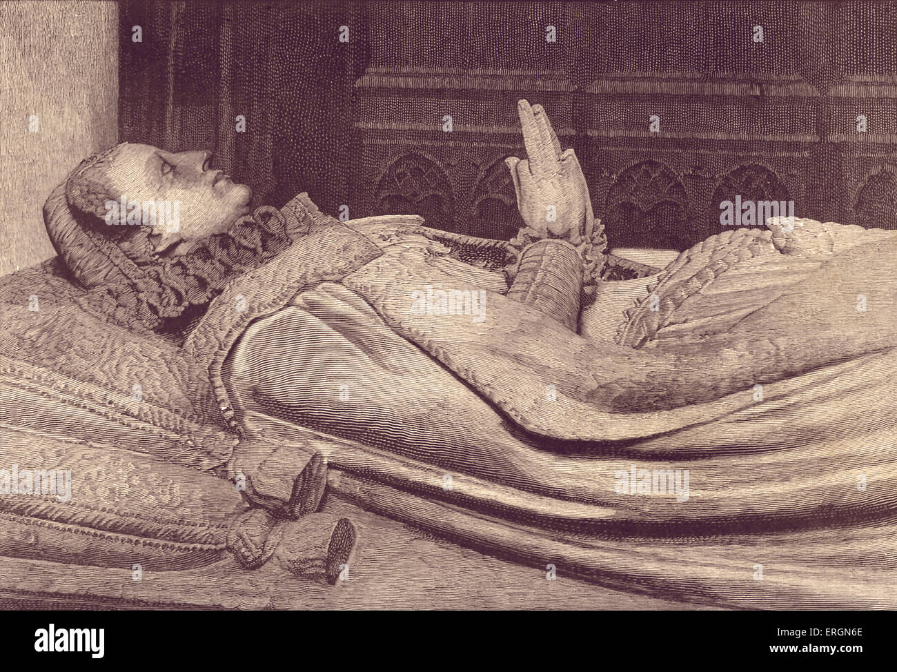 Effigy of Mary Queen of Scots (1542- 1587) on her tomb. Queen regnant of Scotland (1542 - 1567)  and queen consort - Stock Image