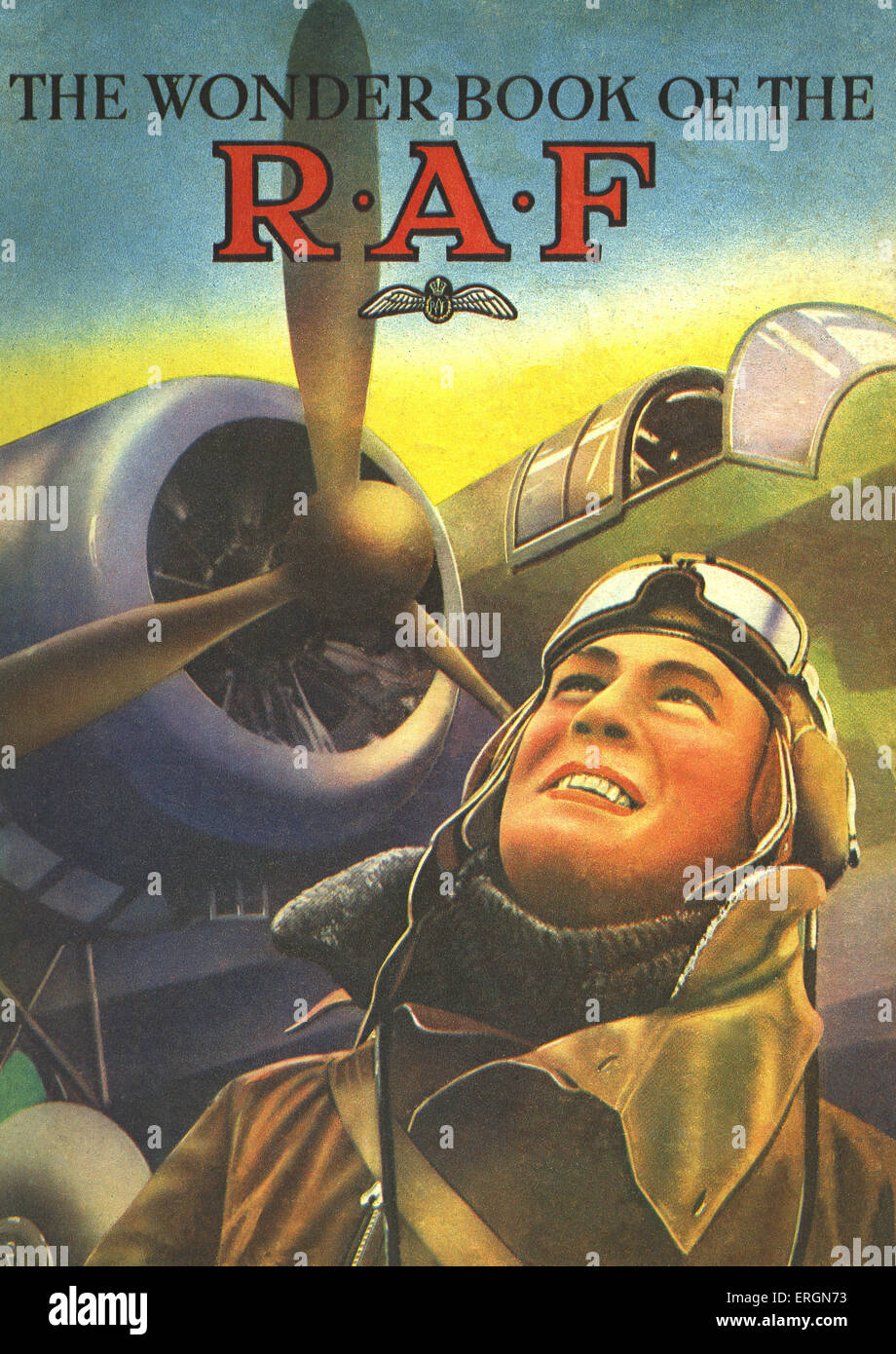 WW2 - The Wonder Book of the R.A.F, front cover illustration. Caption reads: A Knight of the Air. - Stock Image