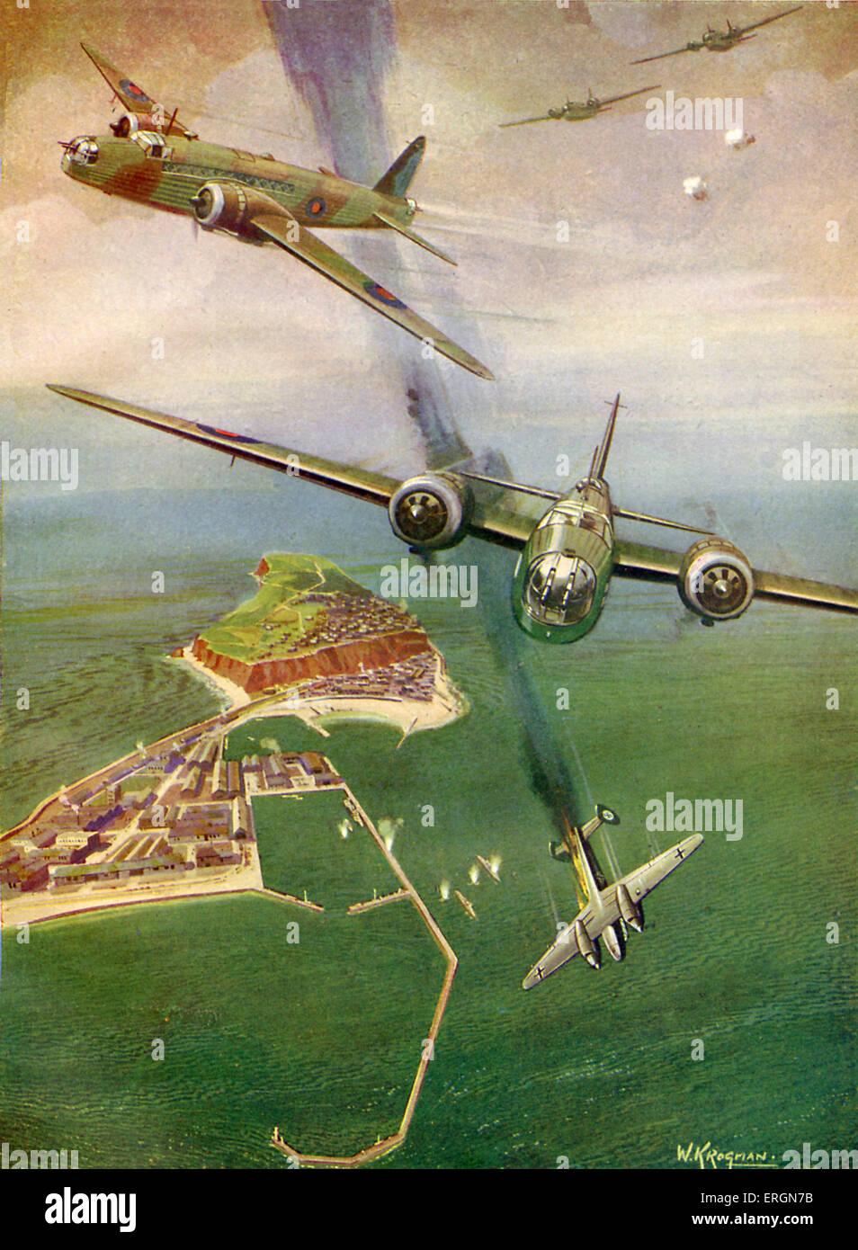 WW2 - British Wellington bombers destroy a German  Me 110  (Messerschmitt Bf 110)  plane off the island of Heligoland, - Stock Image