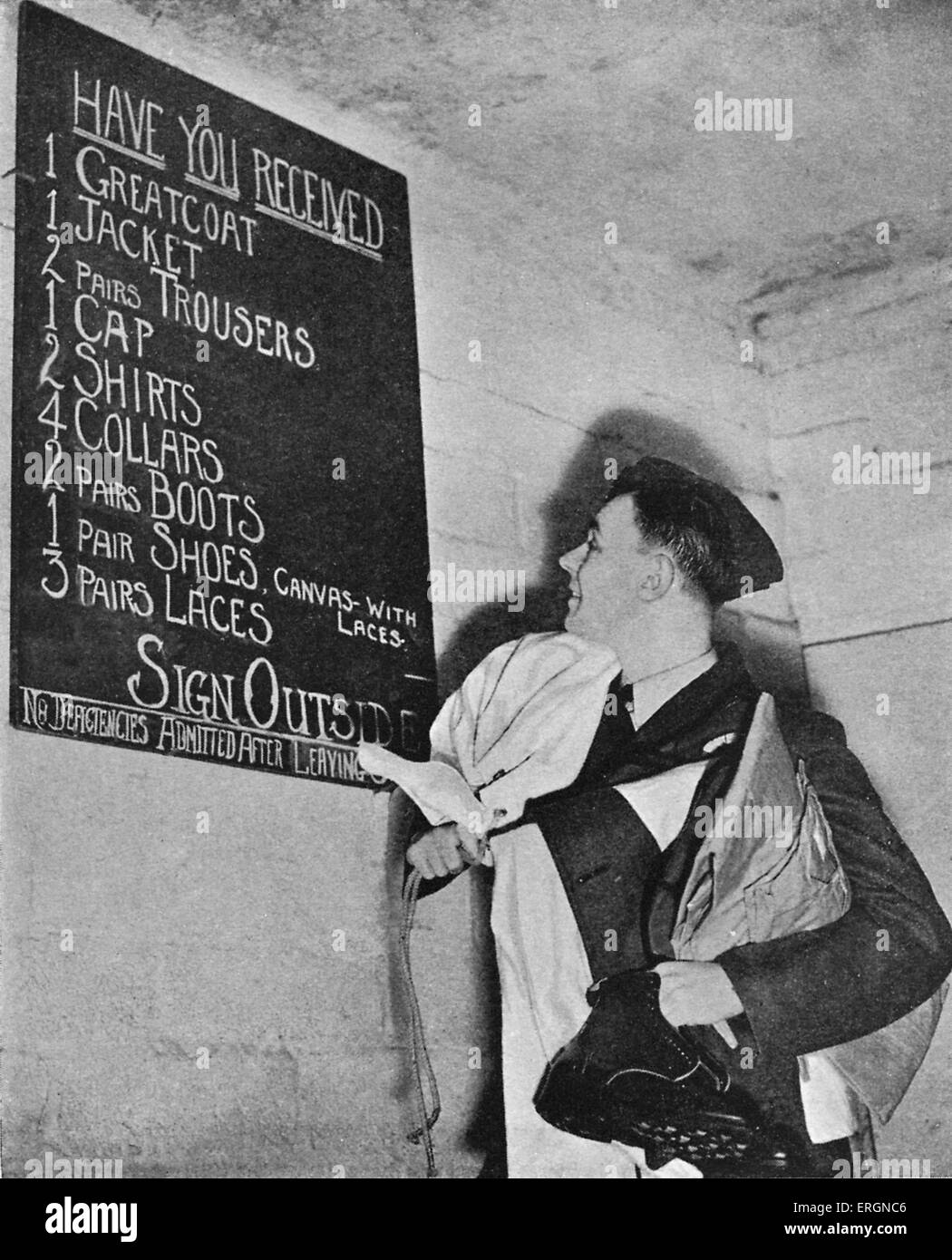 WW2 -List of  Equipment issued to RAF  British cadet  pilot. Notice reads:'Have you received: 1. greatcoat, - Stock Image