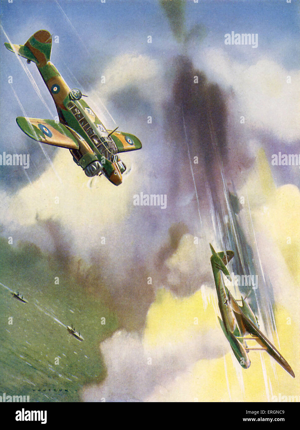 WW2 - Air battles between RAF and Luftwaffe. Captions reads: 'An Avro-Anson of the coastal command destroys - Stock Image