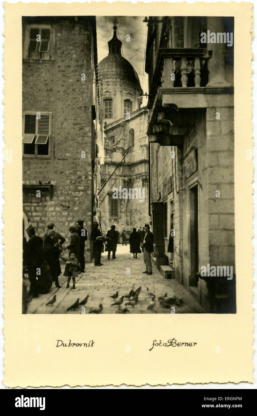 Dubrovnik street in 1930s. Postcard dated 1936. Croatia - Stock Image