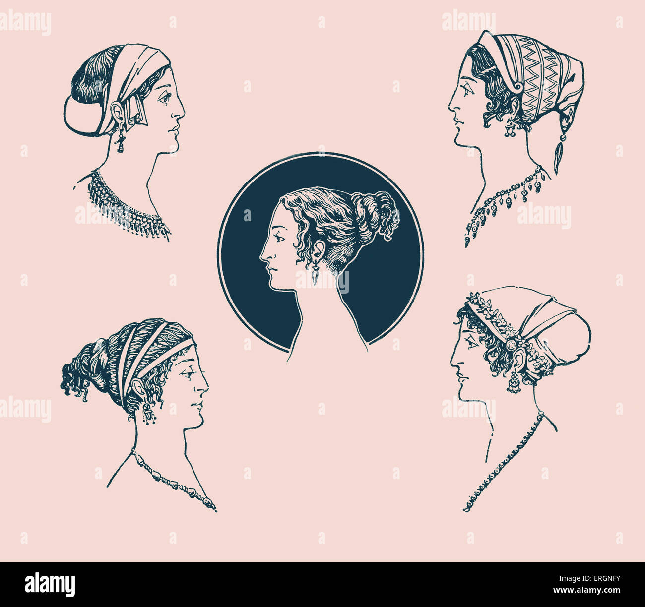 Ancient Greek hairstyles. Example of Ancient Greek female hairstyles and headdresses in 5th Century BC Greece. Illustration - Stock Image