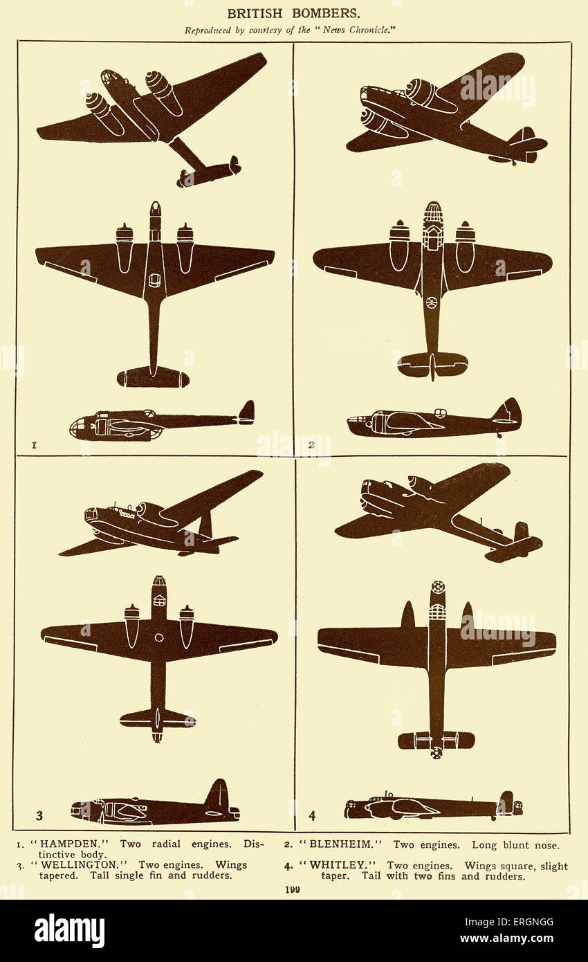 WW2 - British Bombers. Diagrams of Hampden, Blenheim, Wellington and Whitley bombers. - Stock Image