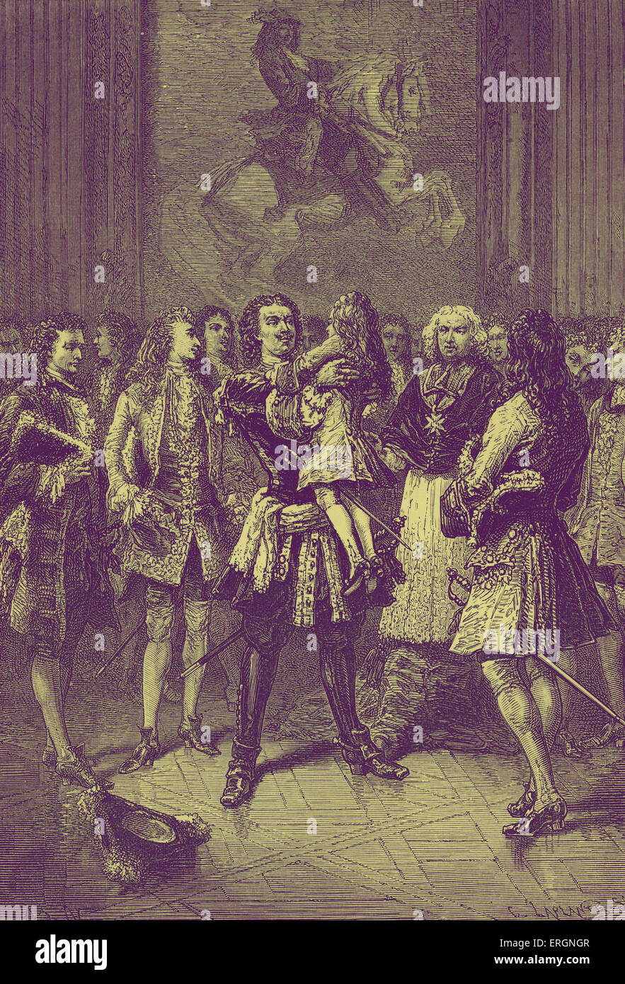 In 1717, when only seven years old, Louis XV received a visit from Peter the Great of Russia who, seeing a delicate - Stock Image