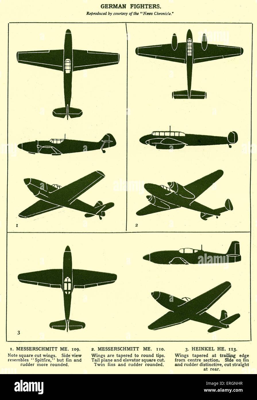 WW2 -German Fighter Planes. Diagrams of a Messerschmitt ME 109, Messerschmitt ME 110 and Heinkel HE 113. - Stock Image