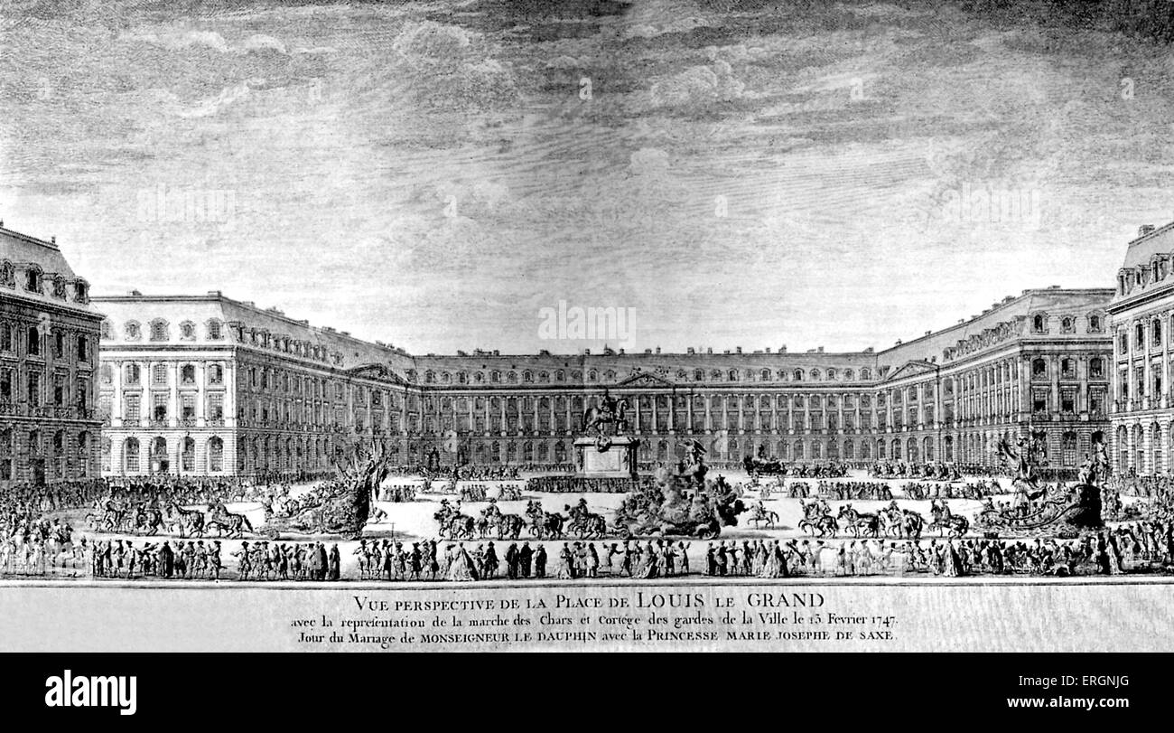 Vue perspective de la place de Louis le Grand avec la représentation de la marche des chars et cortège - Stock Image
