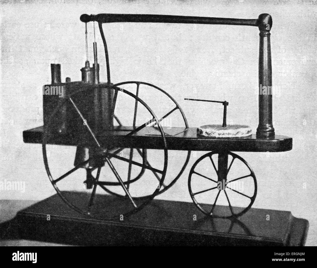 The first Locomotive made in England. Caption reads 'Invented and constructed at Redruth, Cornwall, by William - Stock Image