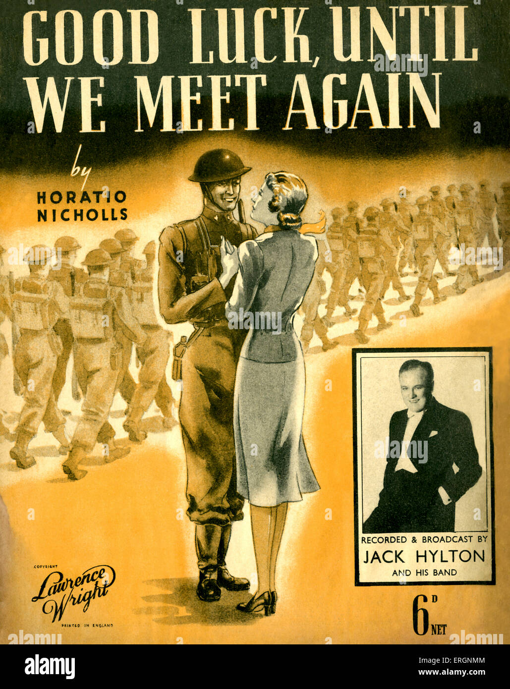 Good Luck Until We Meet Again, - score cover -  song written and composed by Horatio Nicholls, recorded and broadcast - Stock Image