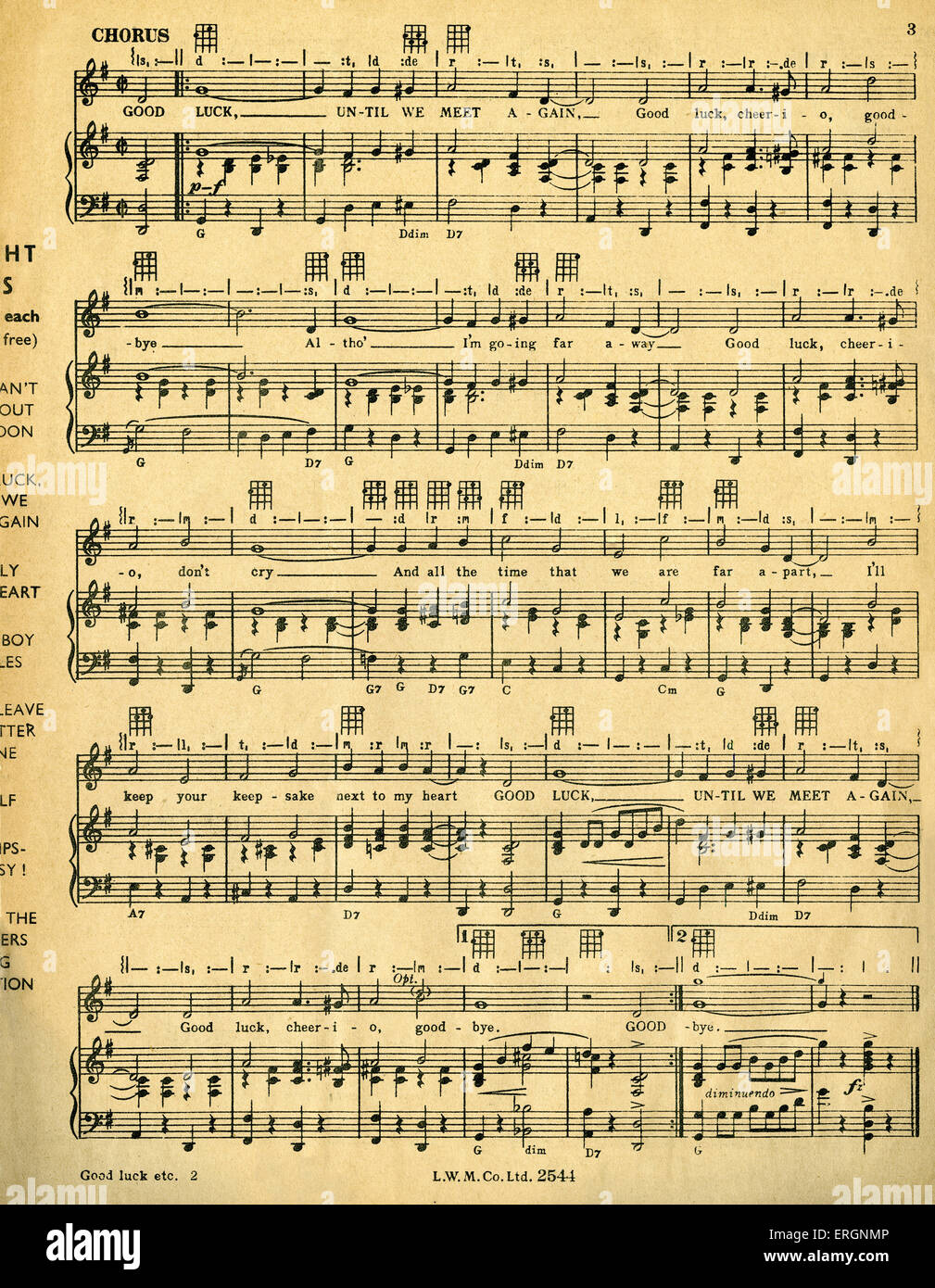 Good Luck Until We Meet Again, - score  -  song written and composed by Horatio Nicholls, recorded and broadcast - Stock Image