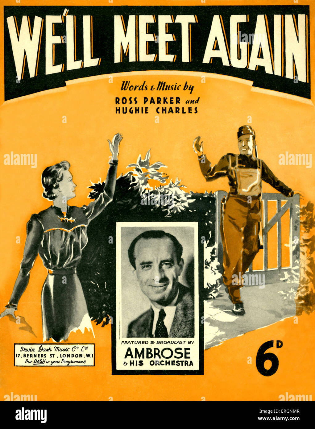We'll Meet Again, (score cover) - words and music by Ross Parker and Hughie Charles. Featured and broadcast - Stock Image