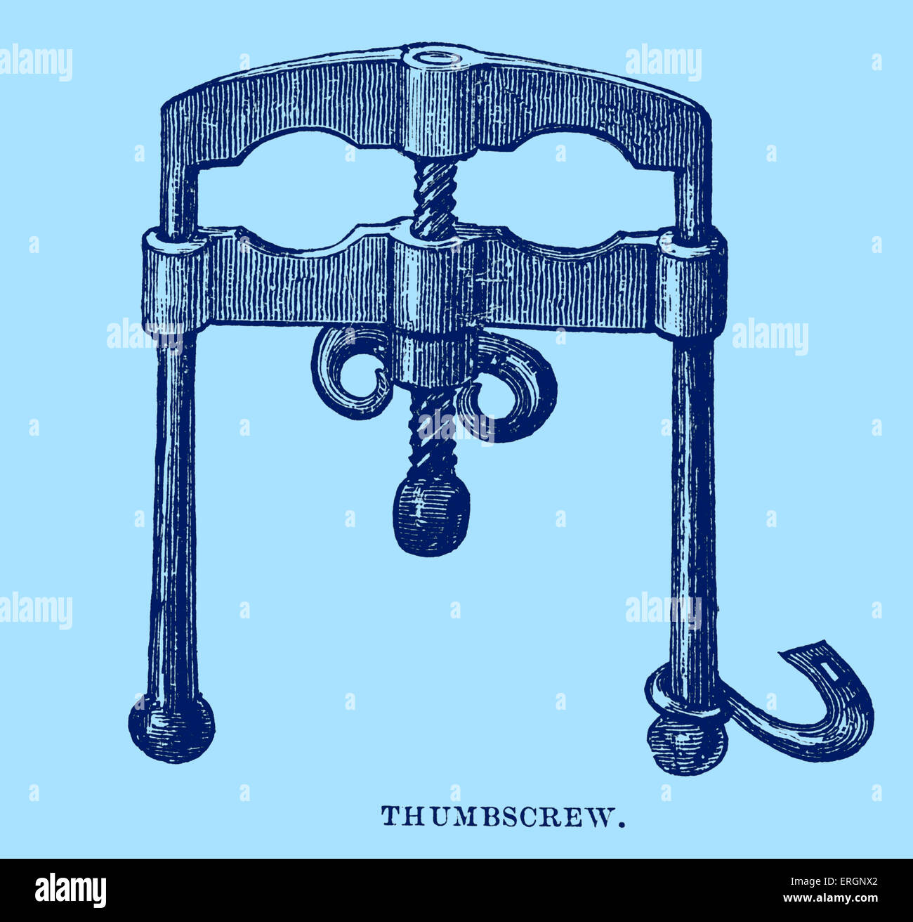 Thumbscrew, illustration - a screwed device, used for torture. 17th century. - Stock Image
