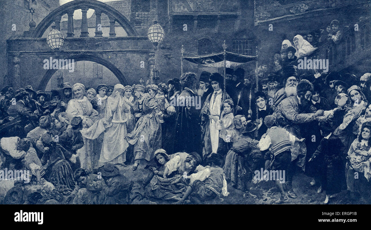 Jewish marriage scene in Galicia.Veiled bride is accompanied to the wedding  canopy known as a chuppah, or  huppah, - Stock Image