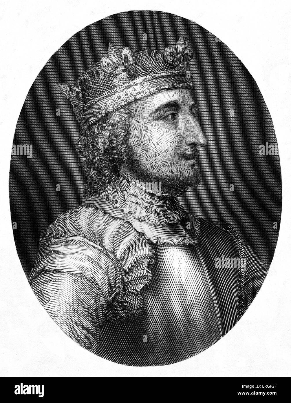 Stephen I or Stephen of Blois, portrait. King of England from 1135 to his death. 1092/6 – 25 October 1154. - Stock Image