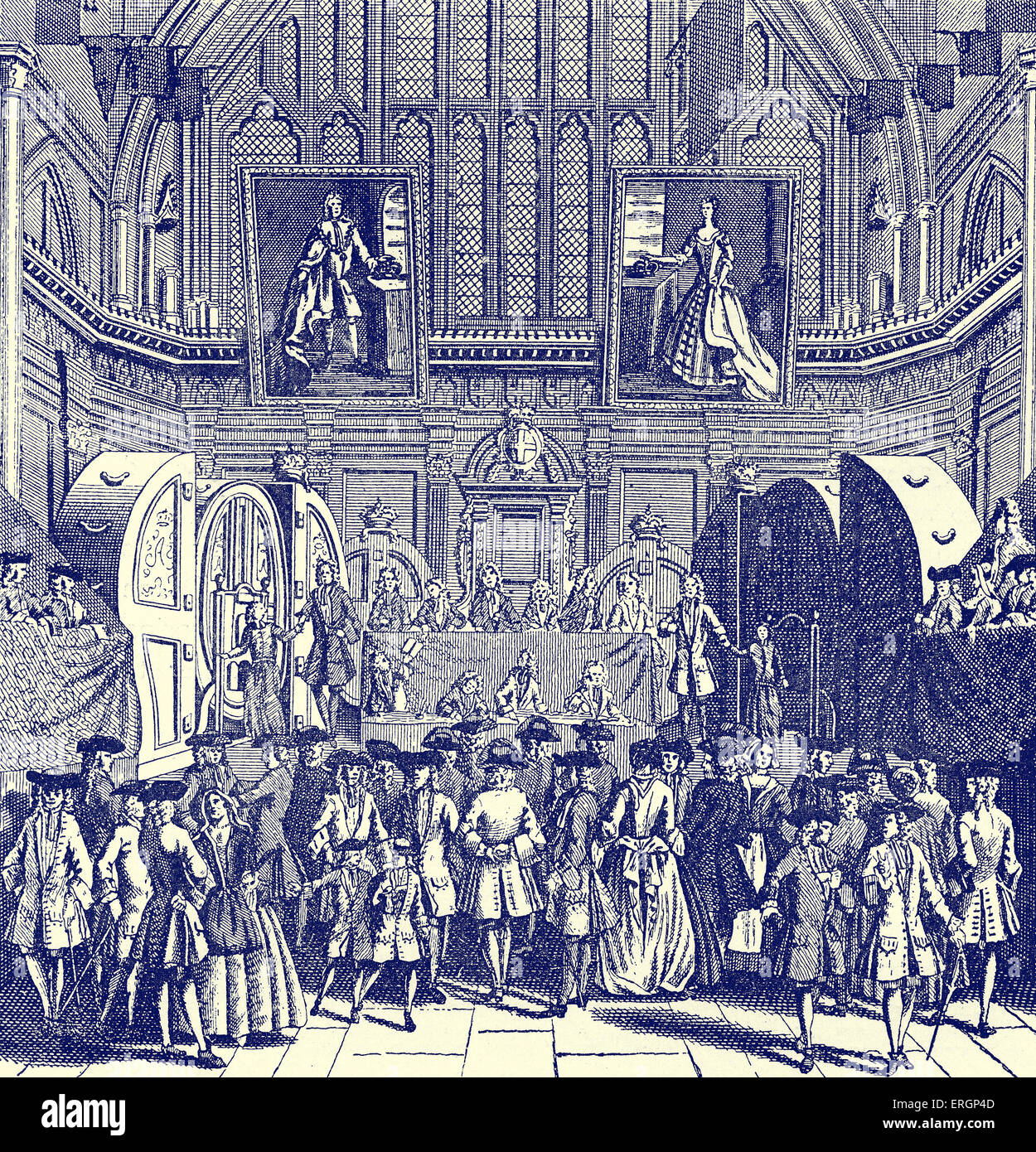 The State Lottery at Guildhall, 1739  -    raising funds for Westminster Bridge. Caption reads: 'The Name of a Lottry… Stock Photo