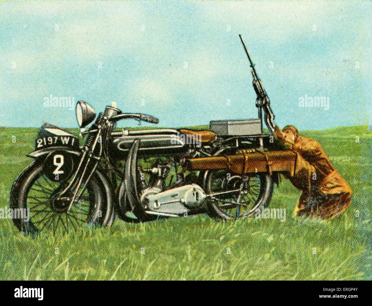 French  Anti-aircraft light machine gun fixed on motorcyle, for special unit. 800 shots per minute capacity.   (Source: - Stock Image