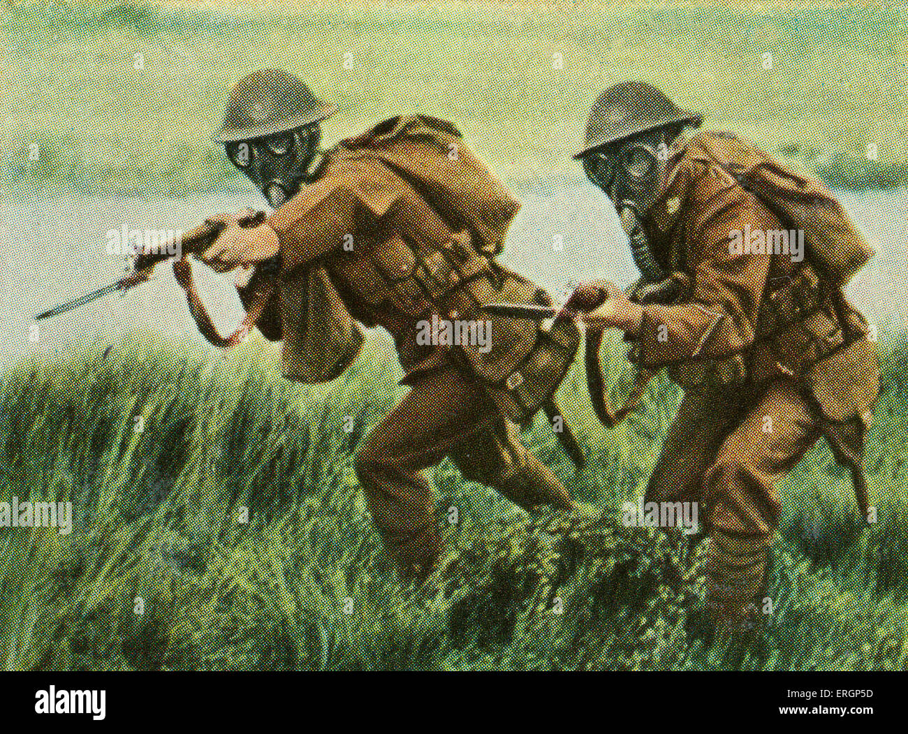 English/ British infantrymen with fixed bayonets at the ready in storm attack, and also carry gas masks.   (Source: - Stock Image