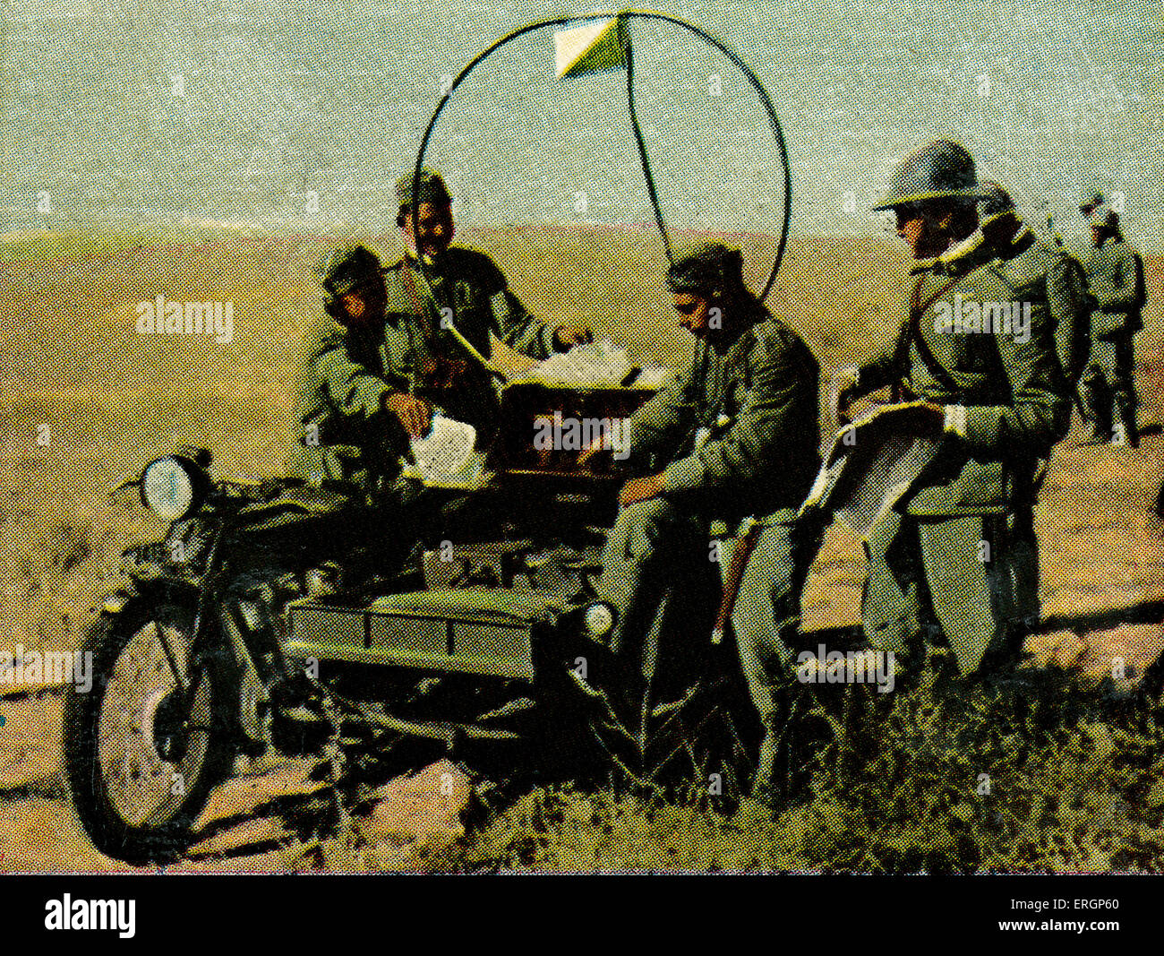 Italian military  mobile telegraph station accompanied troops during advance and transmitted the orders from and - Stock Image