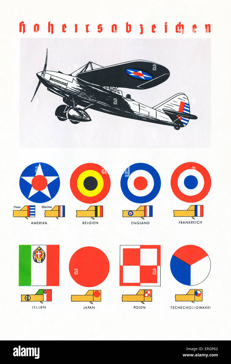 National insignia in 1930s for air force and army for America (also navy insignia), Belgium, England, France, Italy, - Stock Image