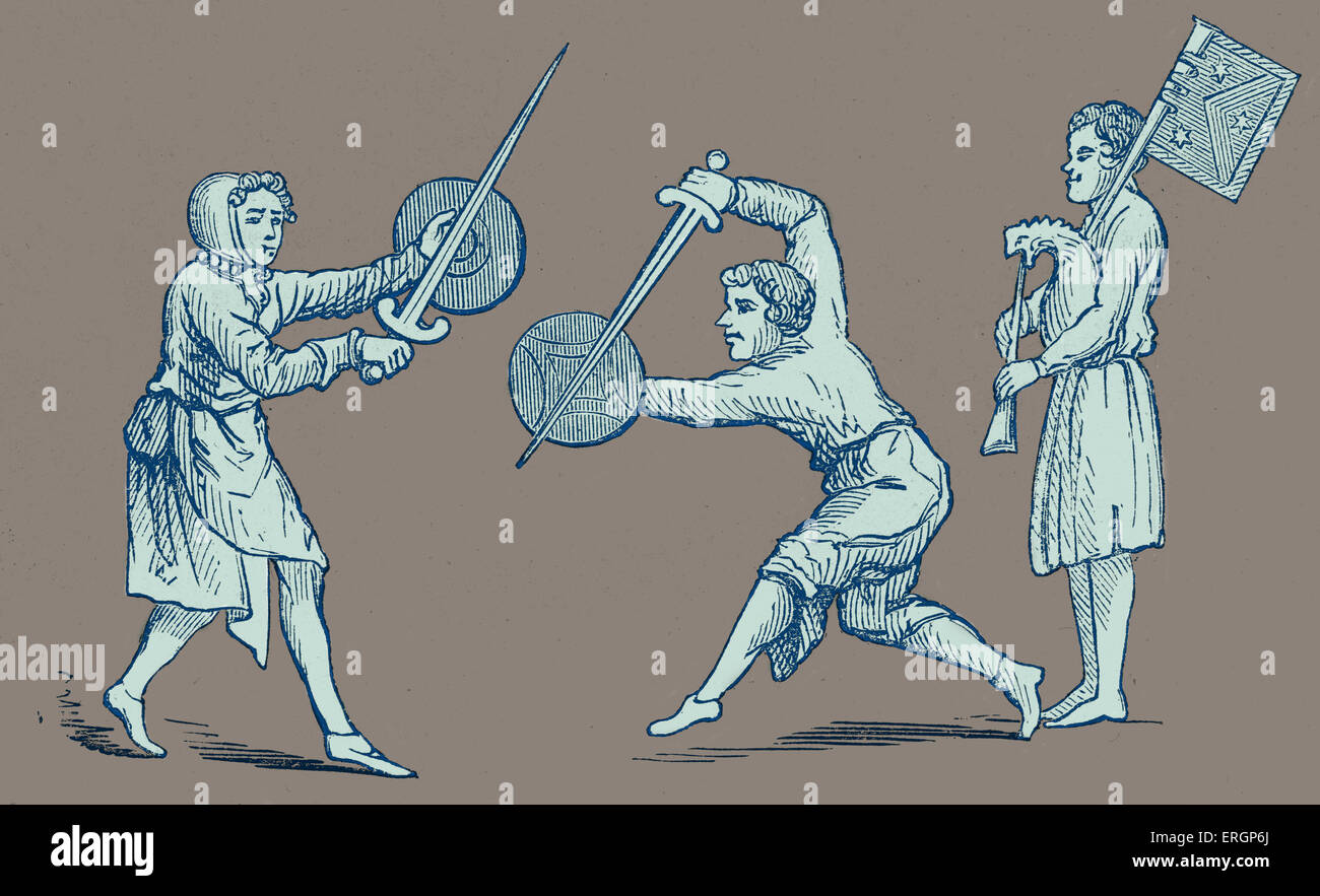 Street performers perform a sword dance accompanied by bagpipes. - Stock Image