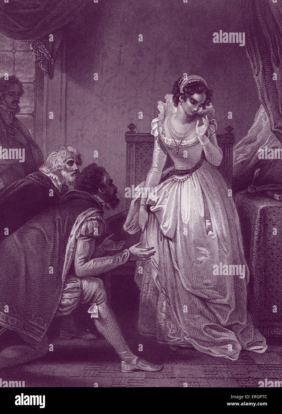 Lady Jane Grey declining the crown. Also known as the 'The Nine Days Queen', Lady Jane Grey  (1536-1554) - Stock Image
