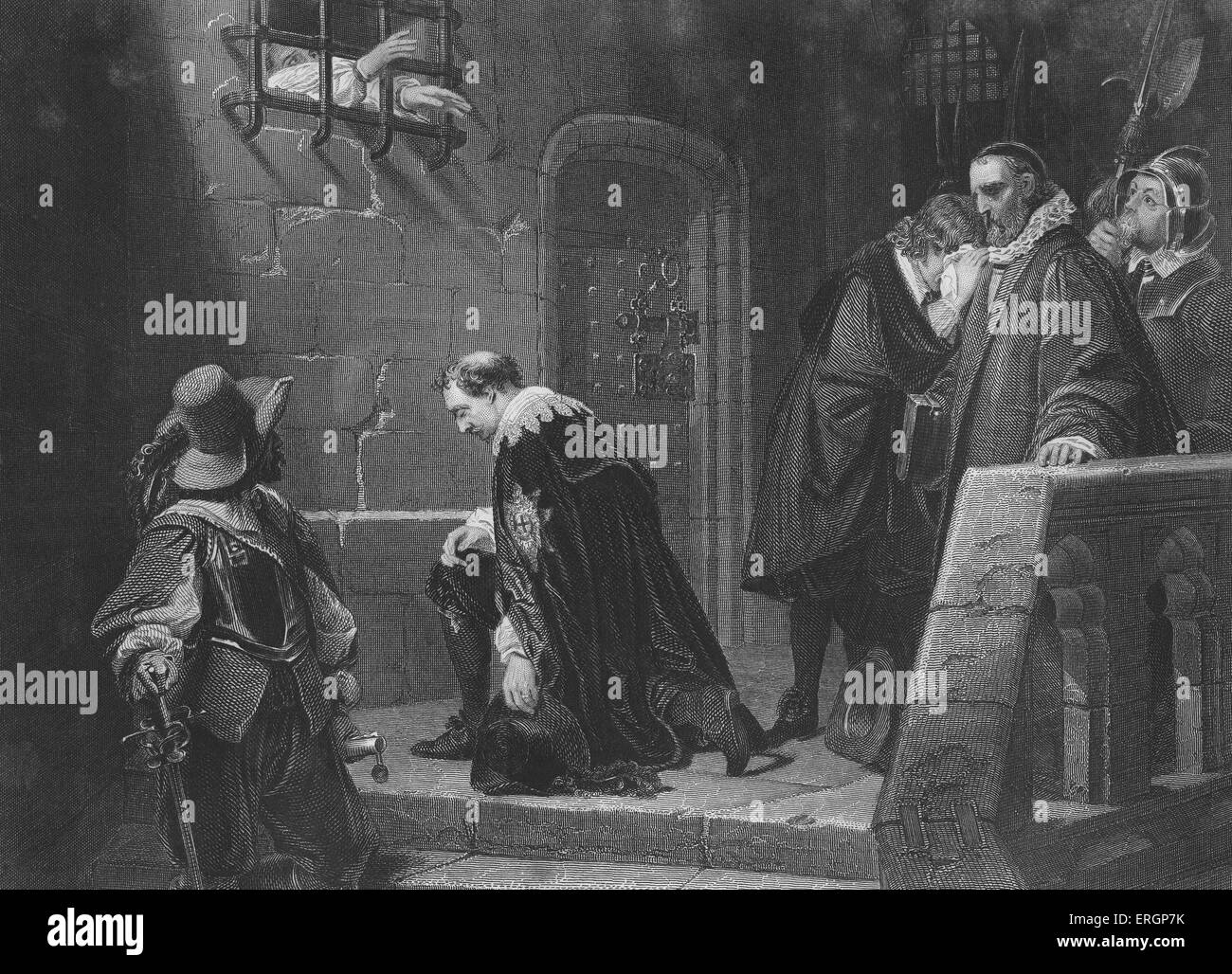 Archbishop Laud blesses Lord Strafford as he is led to execution.Thomas Wentworth, 1st Earl of Strafford, was executed - Stock Image