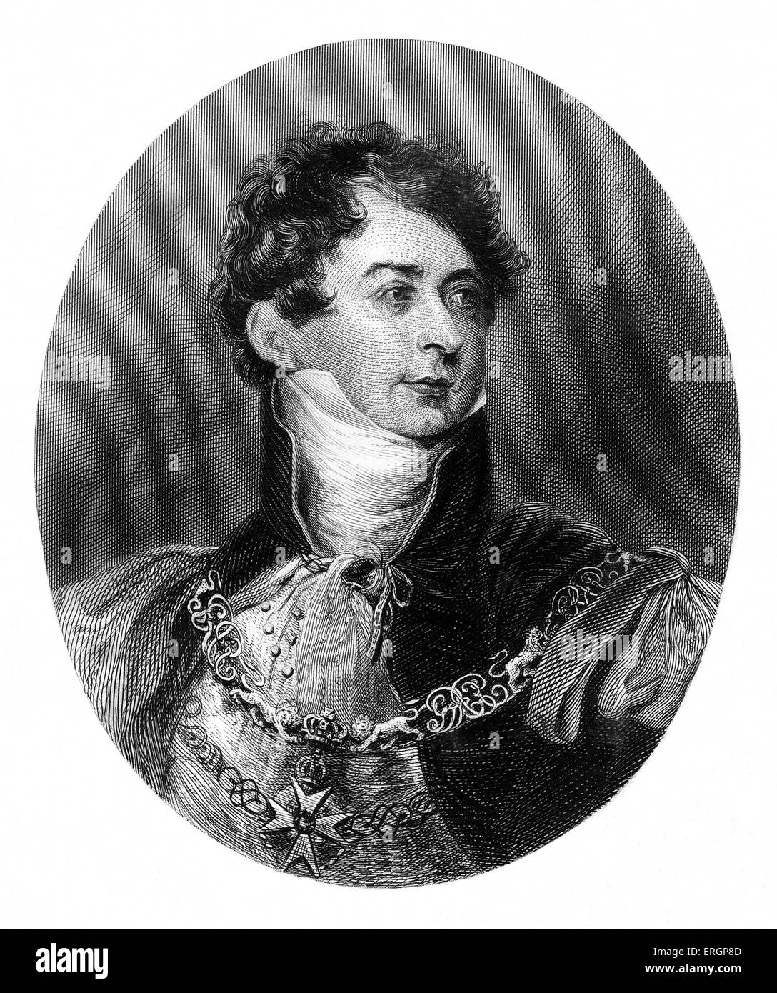 King George IV, portrait. Reigned 1820 - 1830. George acted as Regent for his father from 1811-1820. - Stock Image