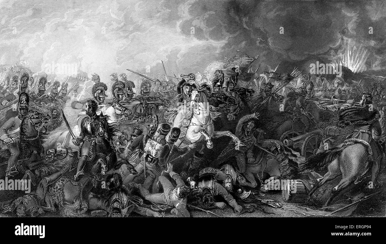 Battle of Waterloo. Caption reads ' Decisive charge of the life guards at Waterloo.' Steel engraving by - Stock Image